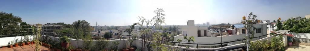 Panorama auf der Dachterrasse in Bangalore