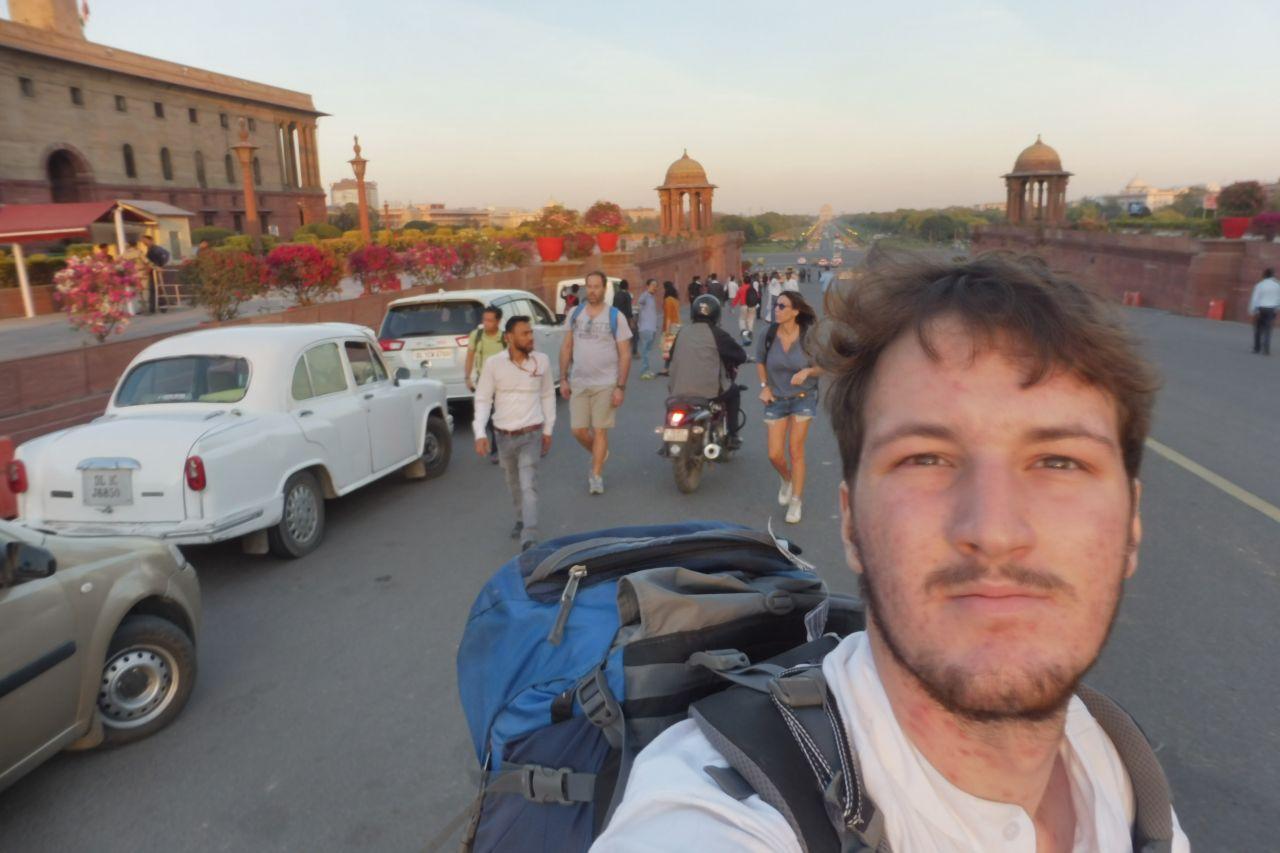 Delhi mit Rucksack