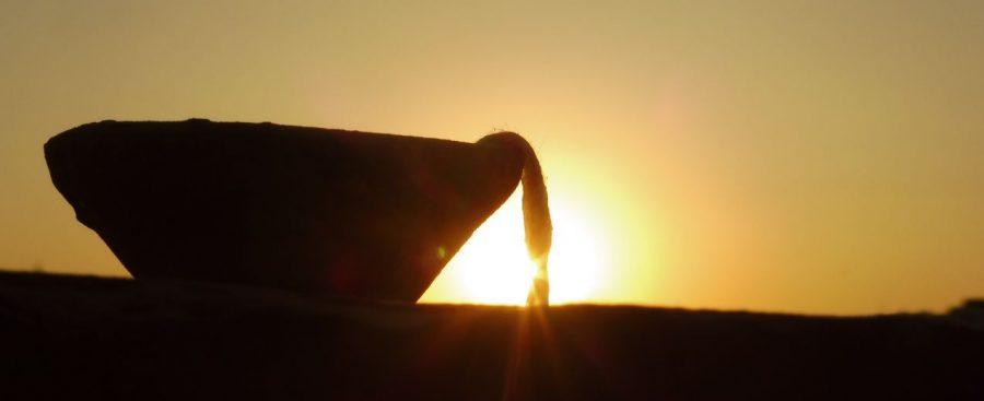 Sonnenuntergang mit Öllampe